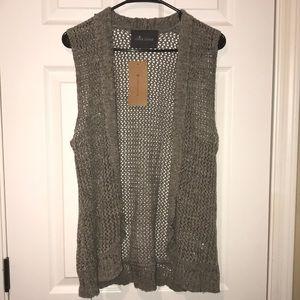 Grey knit sleeveless cardigan